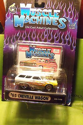 Muscle Machines 65 1965 White Flaming Chevelle Wagon Die Cast Car New Not Opened