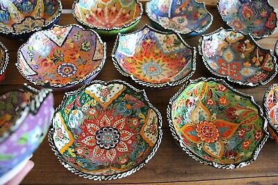 Turkish ceramic bowls - 15cm Wavy Edges - colourful, handmade and hand painted