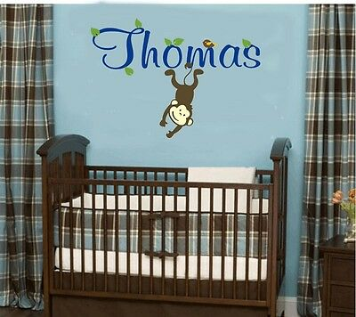 Wall stickers custom baby name monkey bird Decal Removable Vinyl Decor Nursery