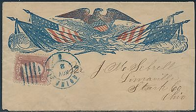 """#65 On Vf Civil War Patriotic """"eagle & Flags"""" Cover Very Scarce Bs1172"""