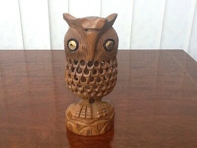 Carved Wooden Owl With Another Owl Carved Inside 14Cm Tall Gold Eyes