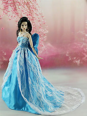 Blue Fashion Royalty Princess Party Dress/Clothes/Gown For Barbie Doll S156U