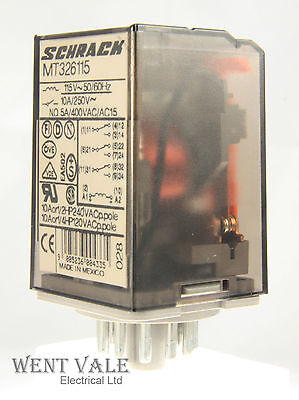 Schrack Multimode MT326115 - 10a - 11 Pin Plug-in 3PCO Relay 115vac Coil Un-used