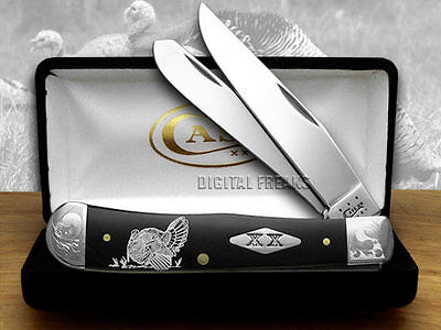 CASE XX Turkey Black Delrin 1/500 Trapper Pocket Knife Knives