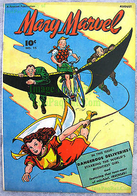 Mary Marvel #15 Fawcett pre DC 1947 SHAZAM! Very Nice! Big Pics! The Magic Seeds