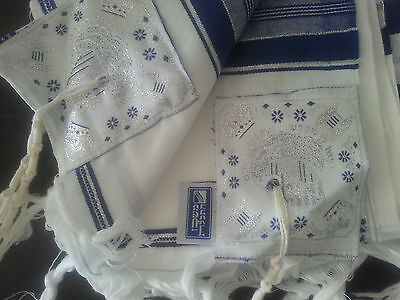 "Kosher Tallit Talit Prayer Shawl Acrylic 55""X73"" blue/silver Adult Size # 60"