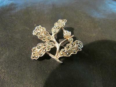 Lovely Art Deco Solid Silver & Marcasite Acorn Brooch