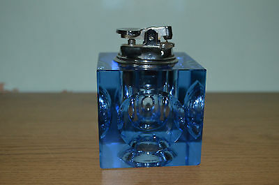 RETRO 1960S BLUE GLASS TABLE TOP LIGHTER