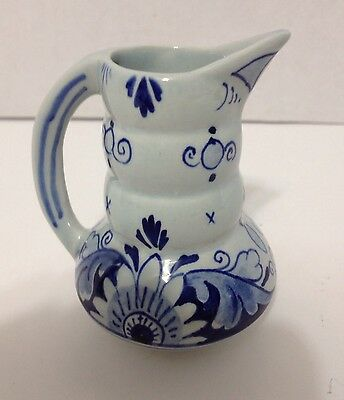 """Delft Blue hand painted Schoonhoven Holland 3 1/4"""" tall Miniature Pitcher Signed"""