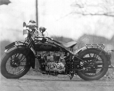 1928 Indian V-Twin Police Motorcycle Photo Massachusetts License Plate Cop Siren