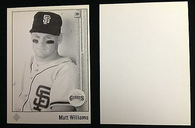 1989 Matt Williams Upper Deck One Color Front Test Card Proof Blank Back#e39