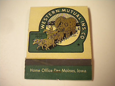 Large Vintage Western Mutual Insurance Company Matchbook, Office Des Moines, IA