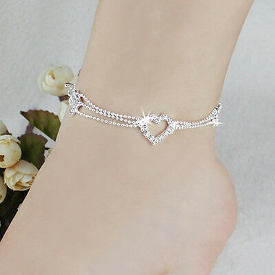 Women Charm Silver Bead Chain Crystal Heart Ankle Anklet Bracelet Foot Jewelry