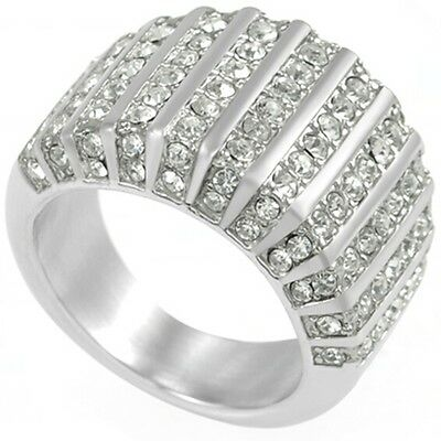 Size K-W Stainless Steel Ring Wedding Engagement Halo Bridal Cluster Birthday