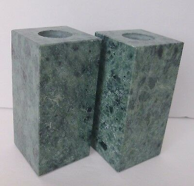 PAIR Genuine Green Marble Candle Holders