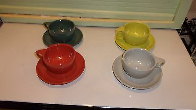 WATERTOWN LIFTIME WARE / CUP & SAUCERS / SET OF 4 / MELMAC / DIFFERENT COLORS!!!