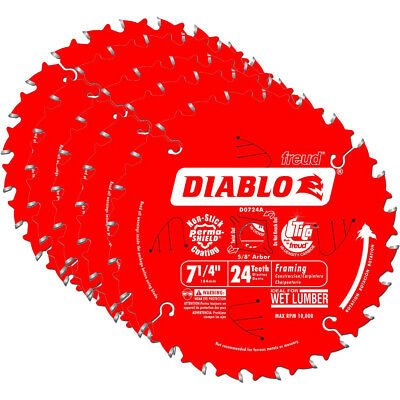 Freud D0724A Diablo 7-1/4-inch 24T ATB Thin Kerf Framing Saw Blades, 5-Pack