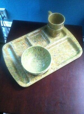 Vintage Prolon Ware Speckled Confetti Picnic Tray Sets- Florence, Mass.