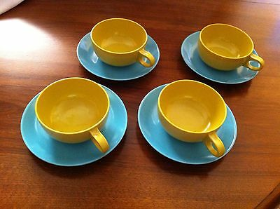 4 CUP and SAUCERS Mid Century Melmac Turquoise & High Noon Yellow Florence