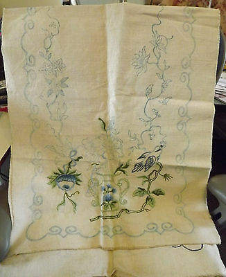 Vintage Tablecloth LINEN Table Runner Ready 4u to Finish Embroidery Chinese Blue