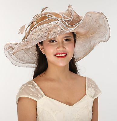 Kentucky Derby Church Tea Wedding Hat Sinamay Extra Wide 3 Layer Taupe w White