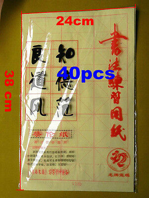 40pcs Grided Ink Control Calligraphy Practice Rice Xuan Paper Chinese