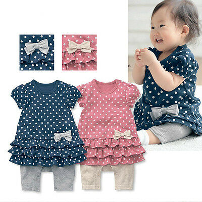 Infant Baby Newborn Girl Kids Polka Dot Romper Bodysuit Clothes Outfit 0-24M