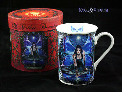 "Anne Stokes Bone China Mug Cup: ""Immortal Flight"" Gothic Fairy with Skull Vision"