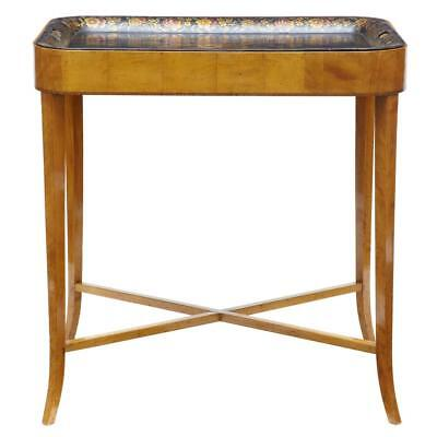 19Th Century Birch Toleware Tray Table
