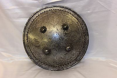 Antique Original Perfect Persian  Silver Gold Decorated Iron Shield