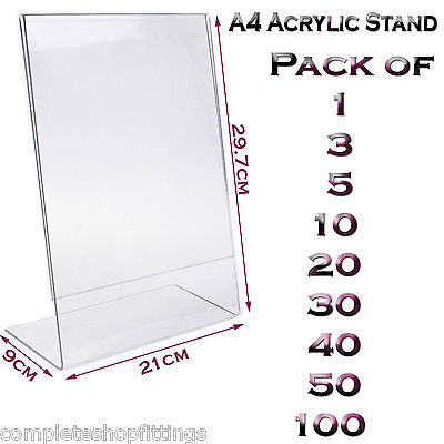 New A4 Acrylic Portrait Poster Menu Holder Perspex Leaflet Display Stands
