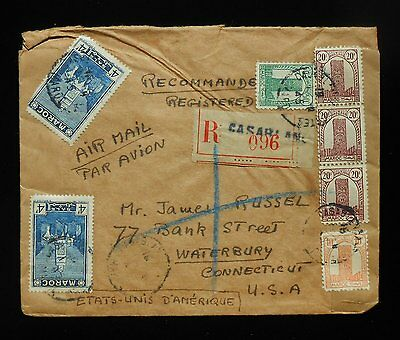 1945 Sep Registered Air Mail Cover New York NY Waterbury CT Casablanca Morocco