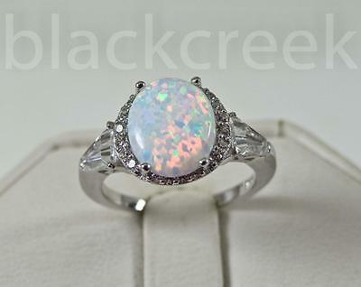 925 Sterling Silver~White Fire Oval Opal/Micro Pave Ring Choose Size