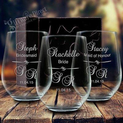 3 x Engraved 500ml Stemless Wine Glass Gift Box Personalised Wedding Bridesmaid