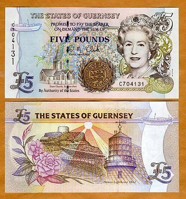 Guernsey, 5 pounds, ND (1996) P-56 (56c), QEII, UNC