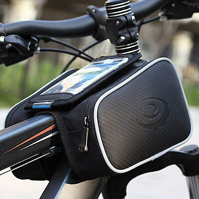 Cycling Bike Bicycle Front Top Tube Frame Pannier Double Bag Pouch Phone Holder