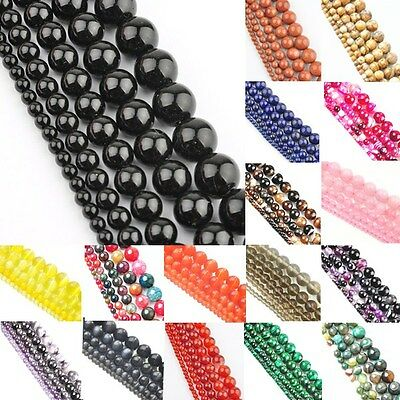"15"" Length Natural Gemstone Round Spacer Loose Beads 4mm 6mm 8mm 10mm 12mm Pick"