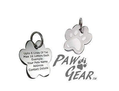Pet ID Tags Personalised Engraved Polished Stainless Steel Paw Dog Cat PawGear