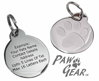 Pet ID Tag Personalised Engraved Polished Stainless Steel Inset Paw Dog PawGear