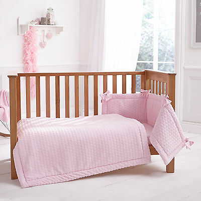 New Clair De Lune Marshmallow Pink Cot / Cot Bed 3 Piece Bedding Bale Gift Set