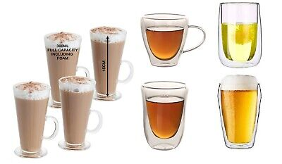 280ML Latte Glasses & 250,180,85ML Double Wall Cups Mugs for Coffee Cappuccino