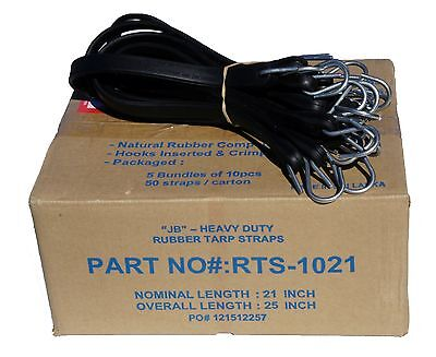 """10 21"""" JB Heavy Duty NATURAL RUBBER Tarp Strap TARP TIE DOWNS, Straps & Bungees"""