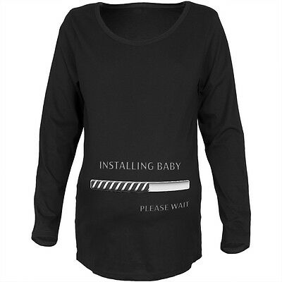 Installing Baby Funny Black Maternity Soft Long Sleeve T-Shirt
