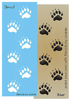 Animal stencil wolf tracks paw print border cabin mountain lodge rustic sign art picclick - Paw print wall border ...