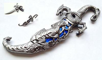 10 Inch Overall Fantasy Dragon Dagger With Metal Scabbard With Blue Inlay
