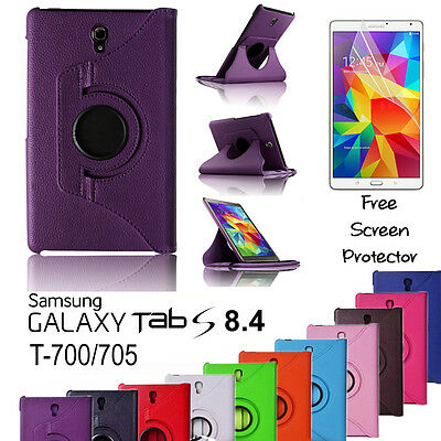 """Samsung Galaxy Tab S (8.4"""") 360 Rotation Leather Case Cover TabS 8.4 SM-T700/705"""