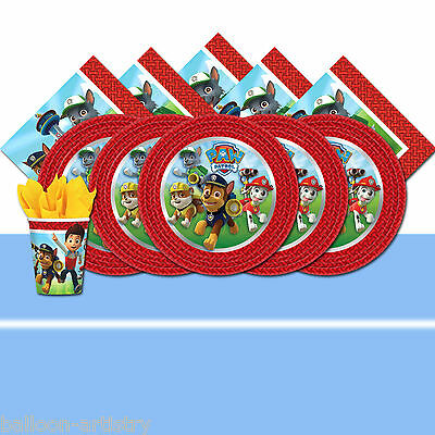 Paw Patrol Puppy Pet Child's Blue Birthday Complete Party Tableware Pack For 16