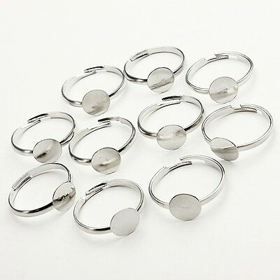 10/20/50/100 Silver plated Adjustable Flat Ring Bases Blank Jewelry Findings 8mm