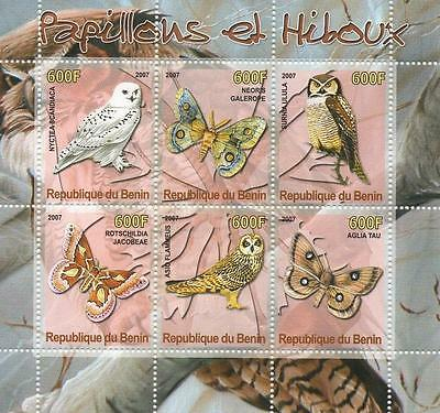 Butterfly Insect Owl Papillons Et Hiboux Benin 2007 Mnh Stamp Sheetlet