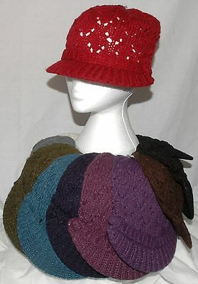 Ladies Knitted Wool Hat Cap Retro Slouch Baker Boy Peak Cap Hat Choice of Colour